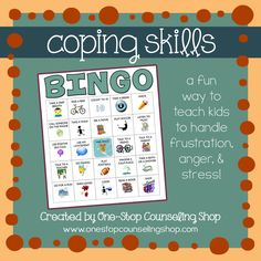 Coping skills bingo is a cognitive activity that teaches children strategies for managing their emotions (stress, anger, frustration). Learning about emotions and ways to handle emotions properly can help with self-regulation. Anger Coping Skills, Coping Skills Worksheets, Counseling Activities, Therapy Activities, School Counseling, Therapy Ideas, Therapy Tools, Group Counseling, Play Therapy