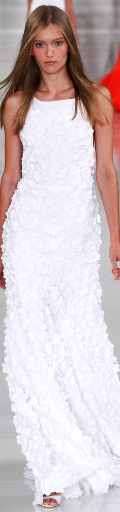 Ralph Lauren RTW Spring 2014 | white floor-length dress with embroidery | high fashion