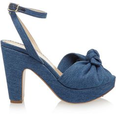 Charlotte Olympia Mansfield bow-detailed denim sandals (47520 RSD) ❤ liked on Polyvore featuring shoes, sandals, mid denim, platform sandals, bow sandals, blue high heel shoes, blue sandals and strappy sandals
