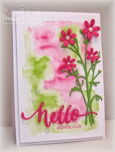 watercolours and wc paper for the background, die-cuts: MB Bella Bouquet in 3 layers, flowers: Elizabeth Craft Design Flower dies, Hand Lettered Hello and die, Wplus9 , Bridget's Paper Blessings