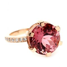 - Cada - RING  18KT REDGOLD WITH TURMALIN AND WHITE  DIAMOND -