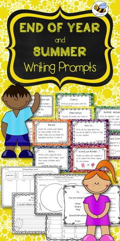 End of Year - Summer - Writing Prompts and Graphic Organizers - This package is a versatile set of twenty-four task cards with writing prompts that cover end of year, summer and vacation time topics. Use the task cards in writing centers or small group work. Most of the writing prompts also have a graphic organizer included to give you choices of how to present the writing activity. The graphic organizers provide the children with interesting and different ways of presenting their written…