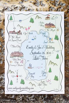 Lake Tahoe wedding map. Paper Moon. Photography: Jonathan Young - jyweddings.com