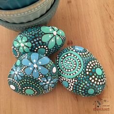 Painted Rocks, Mandala Inspired Design, Nature Art, Natural Home Decor, Rock Art, One-of-a-Kind Gift, blue luminescence collection Trio #52