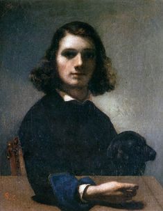 """Gustave Courbet - Self-Portrait ( with Black Dog) 1842 Oil on canvas, 27 x 23 cm Musée de Pontarlier, Pontarlier """""""