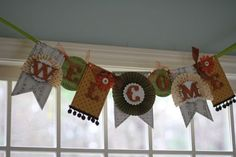 """Cute banner with """"fans"""" that could be made with Bazzill patterned apper and cardstock!"""