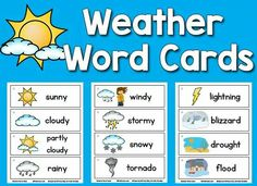 Free Weather Word Cards: Printables for Preschool and Kindergarten. Charades:what weather would you do this? Weather Kindergarten, Teaching Weather, Preschool Weather, Weather Activities, Kindergarten Science, Weather Science, Weather Unit, Weather And Climate, Weather Center