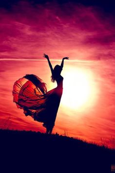 Freedom dance in the sunset