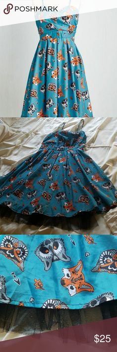 Modcloth woodland creatures dress. Fox, owl,racoon Cute skater dress with tulle underlined,  falls right above the knees. Vintage and soft. Reposh, only tried on. Modcloth Dresses