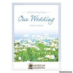 'A Gift to You from Our Wedding,' packet with Daisy seeds. Always a bridal favorite, with a softly romantic field of fresh white daisies.