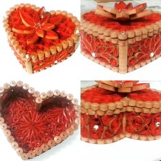 Quilling box heart shaped box for valentine's day Quilling, Heart Shapes, Valentines Day, Picnic, Decorative Boxes, Basket, Instagram Posts, Gifts, Bedspreads