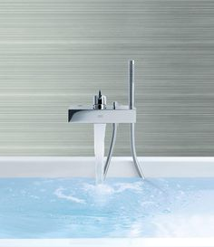 Hansgrohe Axor Starck X Wall-Mount Tub Filler | waterfall faucets | cool bathroom products | bathroom decor ideas