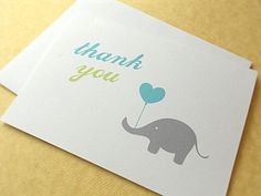 DIY!  Elephant Thank You Notes Blue and Green 10Count by faystreetstudio, $12.00