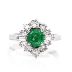 e215db659da40d Estate Emerald Diamond 18 karat white Gold Ballerina Ring #consignment  #estatejewelry #emerald #