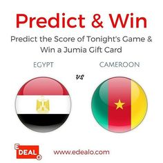 Edealo.com has a giveaway tonight. Check it out at @edealocom . The score of the FINAL GAME & get a chance to win a JUMIA Gift Card. Here's what you need to do: 1- subscribe to our newsletter via SIGN UP button above  2- write your prediction for the score of the game in the comments section below  (in Egypt - Cameroon format). The one who predicts the correct score wins. If several people predict the correct score the one whose correct prediction get the most likes wins). Predictions end at…
