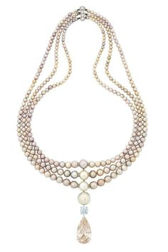 A magnificent coloured diamond and natural pearl necklace, by Cartier - Alain. High Jewelry, Bling Jewelry, Pearl Jewelry, Jewlery, Pearl And Diamond Necklace, Beaded Necklace, Pendant Necklace, Cartier Necklace, Cartier Jewelry