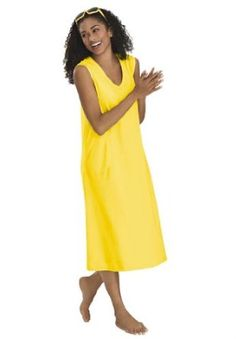 Dreams And Company Plus Size Short Knit Trapeze Lounger Dreams & Co (Yellow,5X) DREAMS. $14.99