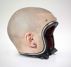 Shaved headsDesigner Jyo John Mulloor created these custom motorcycle helmets to look like the bare heads of the riders underneath.Jyo John Mulloor models a set of custom-made human head helmets [Nina. Cool Motorcycle Helmets, Riding Helmets, Top Gifts, Best Gifts, Objet Wtf, Human Head, Cheap Gifts, Cool Inventions, Inexpensive Gift