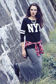Love this NYC tee and maxi skirt. Nyc, Tees, Skirts, Style, Fashion, Moda, T Shirts, Tee Shirts, Fashion Styles