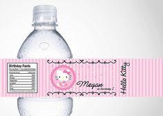 Hello Kitty Water Bottle Label By Cutiesparties 350