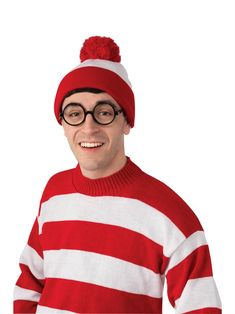 Licensed Where/'s Waldo Beanie Hat Cap Wally Wenda Wilma Woof Red White Bobble