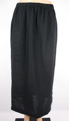 EILEEN FISHER Skirt Size L Black Linen Travel Comfy Full Length #EileenFisher #ALine