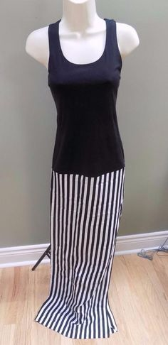ETIENNE DERCEUX Black White Silk Sleeveless Dress Based in Paris NEW XS #etienneDerceux