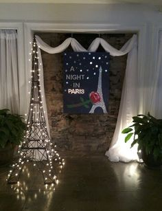 This Bat Mitzvah at the Defoor Centre was given a distinctly Parisian feel! The Night in Paris theme was the inspiration of the Bat Mizvah girl who also came up with the idea of featuring the work of some of her favorite artists in the manner of a French Paris Prom Theme, Paris Themed Birthday Party, Paris Wedding, Paris Theme Parties, Paris Party Decorations, 16th Birthday, Dance Themes, Prom Themes, Gala Dinner