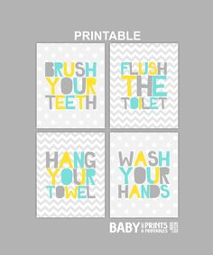Digital kids bathroom art Set of 4 8x10 Polka by babyartprints, $12.00