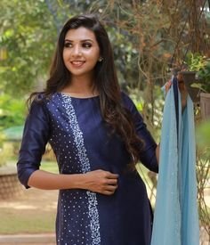Navy Blue Chandheri Suit with Pearl Work Salwar Neck Designs, Churidar Designs, Kurta Neck Design, Blouse Designs, Embroidery On Kurtis, Kurti Embroidery Design, Embroidery Fashion, Stylish Tops, Stylish Dresses