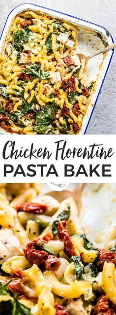 You don't even need to pre-cook the pasta for this Lazy Mom's Chicken Florentine Pasta Casserole! With a quick prep time (just 5 minutes!) and hands-off cooking in the oven, this is the ultimate healthy and easy weeknight family dinner! Grab the recipe here to put it on your meal plan next week: | #recipe #easyrecipes #dinner #easydinner #casserole #chicken #chickenrecipes #pasta #kidfriendly