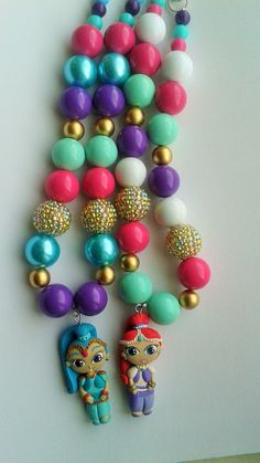 Items similar to Shimmer and Shine genies inspired beaded necklace (gumball beads, shimmer pendant, shine pendan on Etsy Shine Costume, Beaded Necklace, Beaded Bracelets, Shimmer N Shine, Gumball, Christmas Desserts, Beautiful Necklaces, Party Supplies, Beads