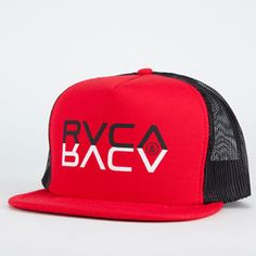 39f8a1429ce RVCA Reflections Mens Trucker Hat - RED - AW5019FT