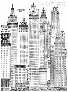 Osbert Lancaster, Early Skyscraper, From: A Cartoon History of Architecture