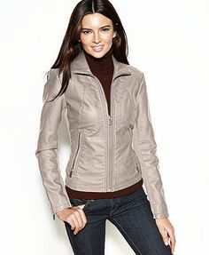 Kenneth Cole Reaction Coat, Faux-Leather Zippered-Cuff Jacket