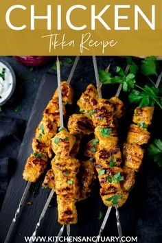 Chicken Tikka Kebabs in a richly spiced yogurt marinade. Grilled, barbecued or griddled to perfection. An easy, family-pleasing dinner! #chickentikka #chickenkebabs Easy Chicken Dinner Recipes, Best Chicken Recipes, Beef Recipes, Cooking Recipes, Turkey Recipes, Yummy Recipes, Chicken Tikka Marinade, Chicken Tikka Masala, Cottage Meals