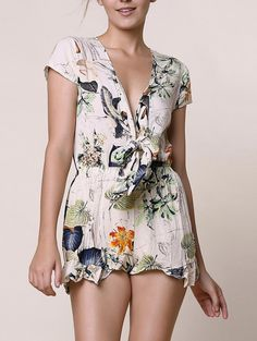 Floral Print Stylish Plunging Neckline Romper For Women