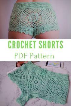 Crochet Shorts Pattern/ Beach Shorts/ Summer Shorts/ Bikini Bottom / High Waisted Shorts/ Beachwear/ Crochet Beach/ Shorts for Women - Crochet Crochet Shorts Pattern, Crochet Pants, Crochet Skirts, Diy Crochet, Crochet Clothes, Crochet Top, Crochet Lingerie Pattern, Crotchet, Crochet Patterns For Beginners