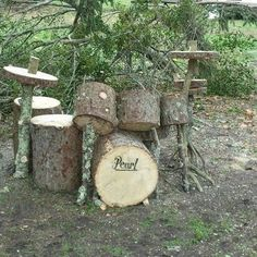 Drum Set from Wood !: Great reuse of wood to make a fake drum set ! Outdoor Play Spaces, Outdoor Fun, Natural Playground, Outdoor Learning, Drum Kits, Looks Cool, Yard Art, Musicals, Funny Pictures