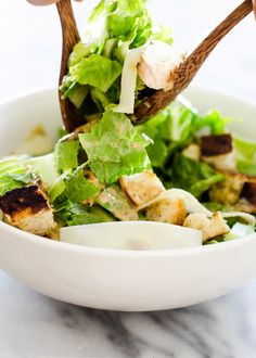 Grilled Chicken Caesar Salad, and it's not just the chicken that's grilled; the croutons are, too! From Food & Friends contributor Erica Lea. Love.