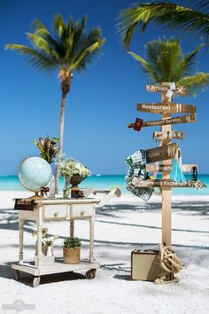 Travel theme decor for a destination beach wedding in Punta Cana.