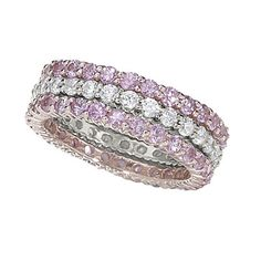 Sweet pink sapphires in rose gold and colorless diamond stackable rings. I want!