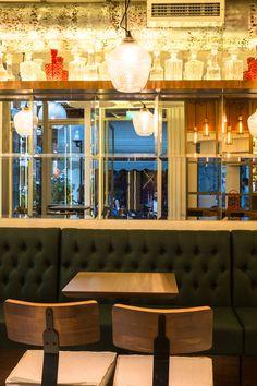 "Cafe / bar ""paparouna"" Designed by IOANNIS Koukouras Cafe Bar, Valance Curtains, Drink, Table, Furniture, Food, Design, Home Decor, Beverage"