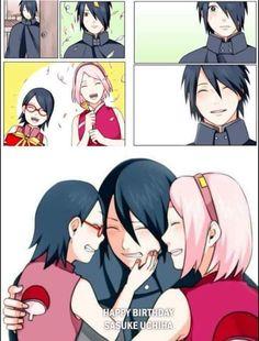Today (23 July) is Sasuke Uchiha's Birthday!  Sakura and Sarada prepared something for Papa! ❣️