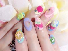 Pastel fruit nail art must be! Cute Nail Art, Gel Nail Art, Cute Nails, Nail Polish, Nail Art Designs, Fruit Nail Art, Japanese Nail Art, Kawaii Nails, Nails Tumblr