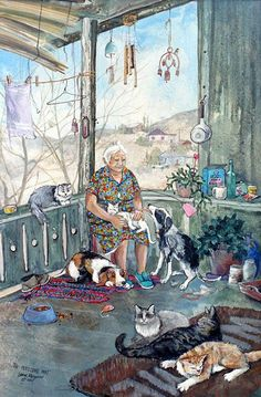 Ideas for funny friends illustration finland Friends Illustration, Cute Illustration, I Love Cats, Crazy Cats, Old Lady Humor, Arte Popular, Country Art, Whimsical Art, Anime Comics