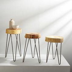 "Katie Gong Design Stump Side Table #westelm 21"" high x 12"" wide Between chairs"