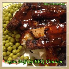 """New recipe on The """"V' Word: 2 favorite sauces combined into one delicious dish - Vegan Buffalo BBQ Chicken made with Beyond Meat Beyond Chicken Strips. Gluten-Free. Please share and enjoy!  http://thevword.net/2015/06/vegan-buffalo-bbq-chicken.html"""