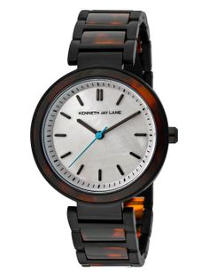 Women's Black, Mother Of Pearl, & Tortoise Watch by Kenneth Jay Lane Watches at Gilt