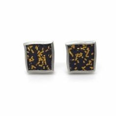 www.ORRO.co.uk - Gill Galloway Whitehead – Small Silver & Gold Confetti Studs - ORRO Contemporary Jewellery Glasgow...